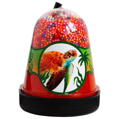 Лизун SLIME Jungle Черепаха с разноцветными пенопластовыми шариками (S300-33) красный