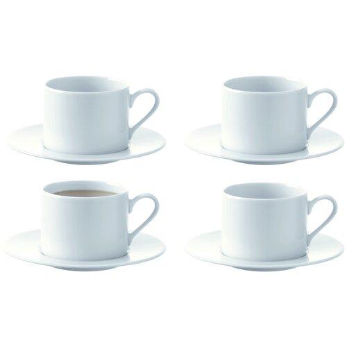 LSA Набор чайных пар Dine 4 шт, 250 мл белый lsa набор кофейных пар fir metallic 4 предмета 100 мл белый золотистый