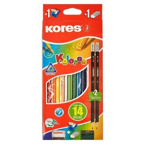 Купить Kores Карандаши цветные 12 цветов с точилкой и ластиком (1013664), Цветные карандаши