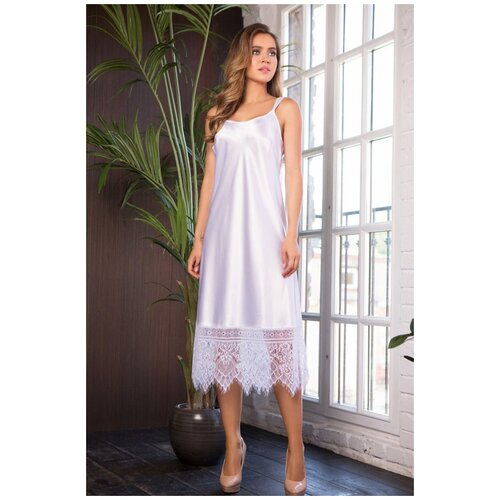 Длинная сорочка Evelin с кружевным подолом, Mia&Mia, размер XL,цвет белый костюм горизонт маскировочный сорочка белый xl