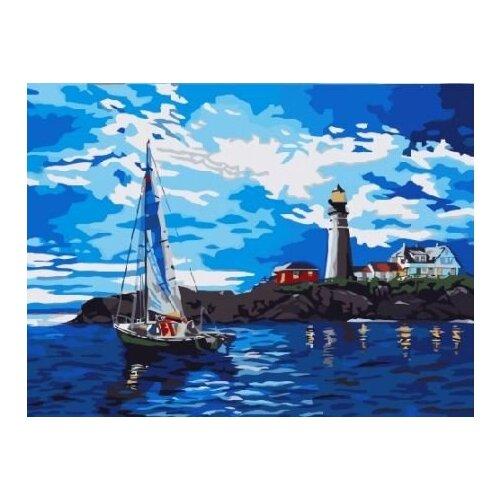 Купить Картина по номерам Цветной «Яхта у маяка» (холст на подрамнике, 30х40 см), Картины по номерам и контурам