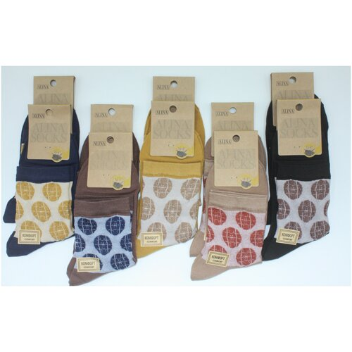 Носки женские Alina CC2084 /10пар, горчичные, синие, черные, бежевые ,коричневые, размер 36-41