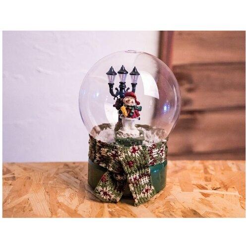 Снежный шар праздник В шарфике - снеговик, музыкальный, светящийся, 13.5x13.5x18 см, батарейки, Kaemingk 481959-снеговик