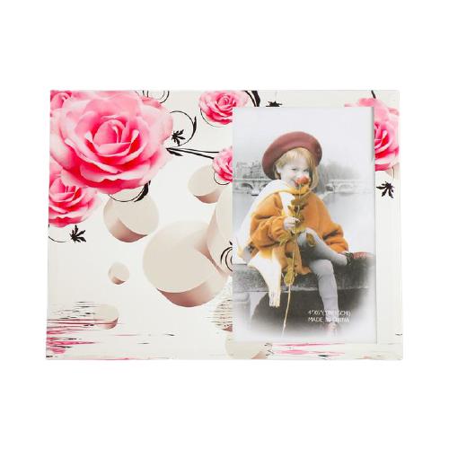 Фоторамка Yiwu Zhousima Crafts Розовые розы и круги 10x15 см разноцветный