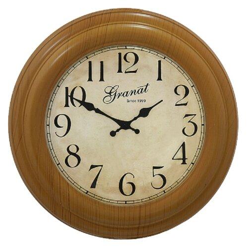 Часы настенные круглые Granat B 190371 пластиковые цвет светлое дерево диаметр 34,7 см