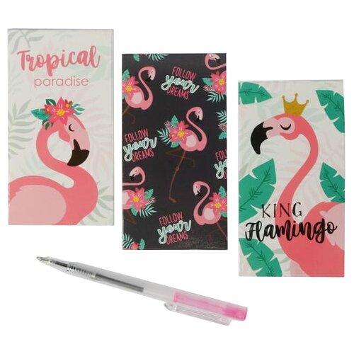 Купить Канцелярский набор ArtFox Tropical Paradise (4700301), 5 пр., розовый/черный, Офисные наборы