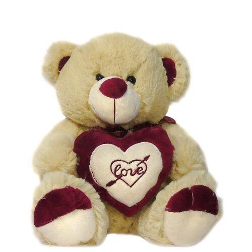 Мягкая игрушка Мишка с сердцем 25 см бежевый