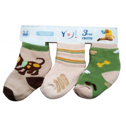 Носки Yo! комплект из 3 пар, размер 6-9 мес(10), бежевый/бежевый/зеленый