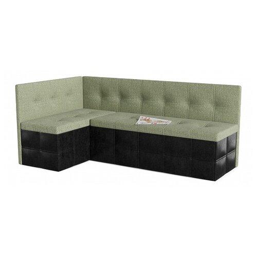 Кухонный диван SMART Домино левый зеленый/черный