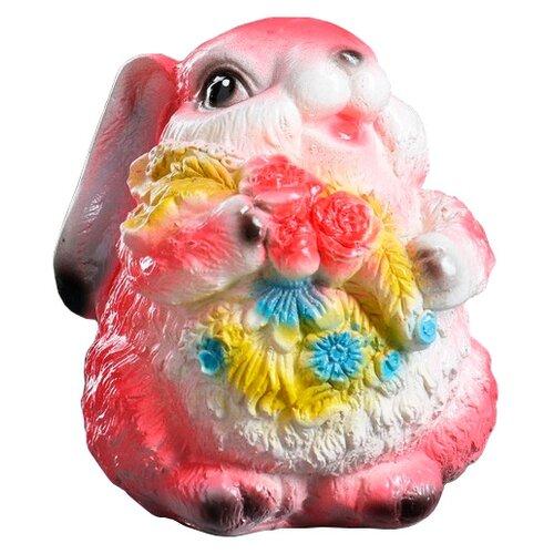 Копилка Хорошие сувениры Кролик с цветами, гипс 14х12х15 см розовый