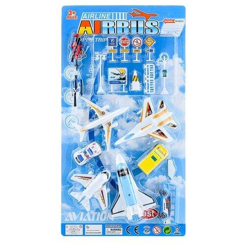 Купить Набор машин Oubaoloon Аэропорт космический шаттл, истребитель, самолет, на листе (9981), Машинки и техника