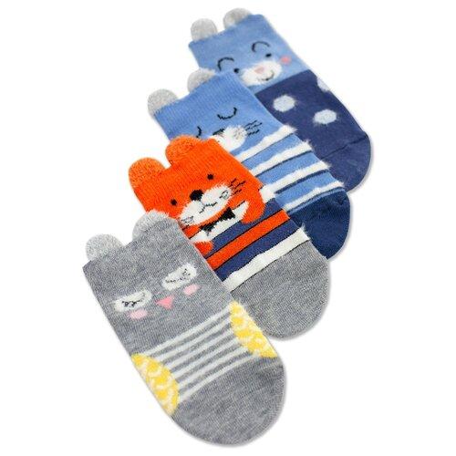 Носки Капризуля комплект из 4 пар, размер 14 (12-14), джинс/индиго/оранжевый/серый меланж