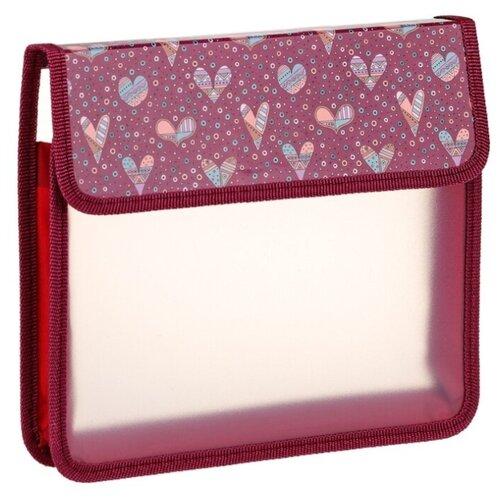 Купить ArtSpace Папка для тетрадей на липучке Hearts А5, 1 отделение, пластик красный, Файлы и папки