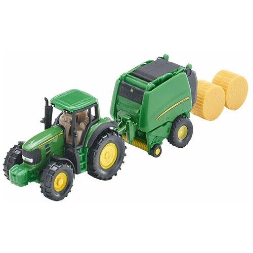 трактор siku с прицепом кузовом 1858 1 87 22 6 см желтый Трактор Siku с пресс-подборщиком (1665) 1:87, зеленый