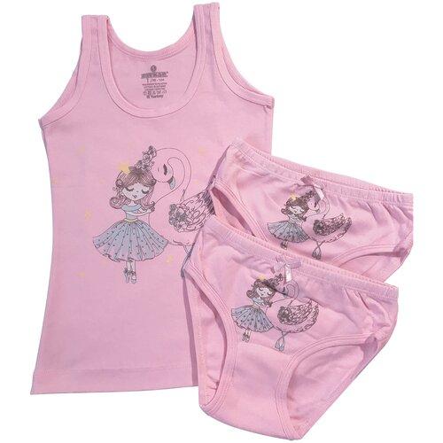 Купить Комплект для девочки (майка 1 шт., трусики 2шт.) Baykar, арт. 4928-5926-2, разм. 1, розовый, рост 98-104, Белье и купальники