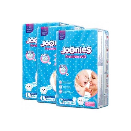 Joonies трусики Premium Soft M (6-11 кг) 56 шт. + трусики Premium Soft L (9-14 кг) 2 х 44 шт., 3 уп. трусики unik 3 шт