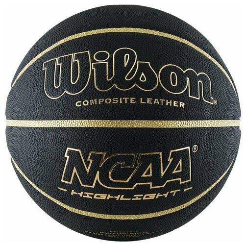 Мяч баскетбольный WILSON NCAA Highlight Gold, р.7, черный/золотистый (WTB067519XB07)