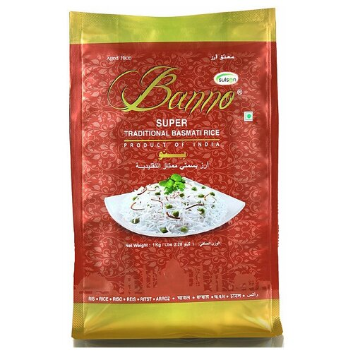Рис Banno Басмати Super Traditional длиннозерный шлифованный 1 кг недорого