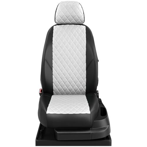 Авточехлы для Peugeot 301 с 2013г.-н.в. седан Задняя спинка 40 на 60, сиденье единое. Задние подголовники горбы (Пежо 301). ЭК-03 белый/чёрный ромб: Белый
