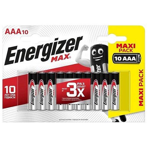 Фото - Батарейка AAA щелочная Energizer LR03-10Bl MAX в блистере 10 шт. батарейка energizer max aaa lr03 алкалиновая 4bl