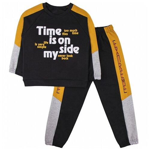 Спортивный костюм Юлала размер 122-128(68), черный/желтый