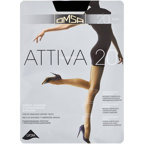 Колготки Omsa Attiva, 20 den, размер 2-S, nero (черный) колготки omsa attiva 20 den размер 3 m nero черный
