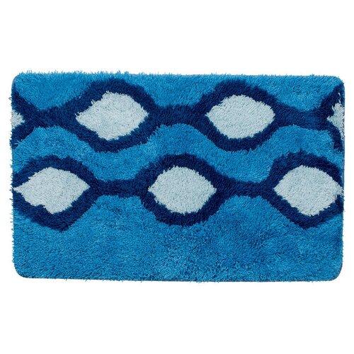 Фото - Коврик для ванной комнаты, 50*80 см, акрил, Curved Lines, blue, IDDIS, 400A580I12 коврик для ванной комнаты 50 80 см микрофибра шенилл blue heaven iddis 620m580i12
