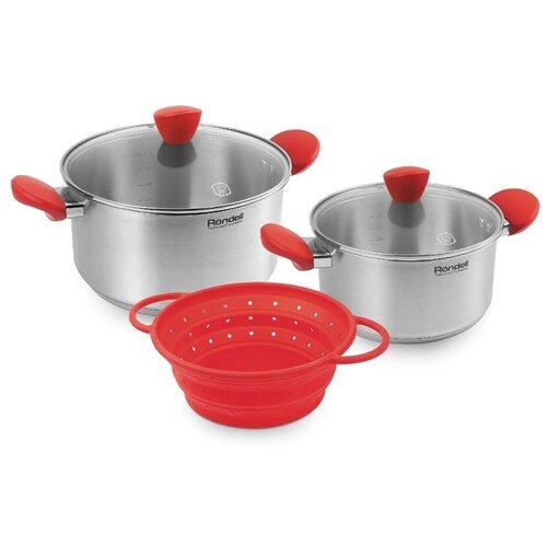 Набор кастрюль Rondell Breit RDS-1003 5 пр. стальной/красный набор посуды rondell rds 1003