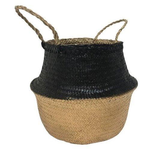 Корзина из пальмовых листьев с декоративной краской с зауженным горлышком, 35*h30см, черно-золотистый цвет