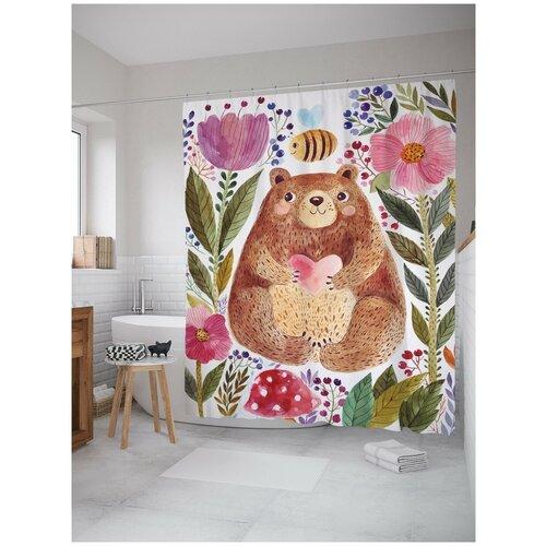 Фото - Штора для ванной JoyArty Добрый медведь в цветах 180х200 (sc-14555) штора для ванной joyarty слон в душе 180х200 sc 8358