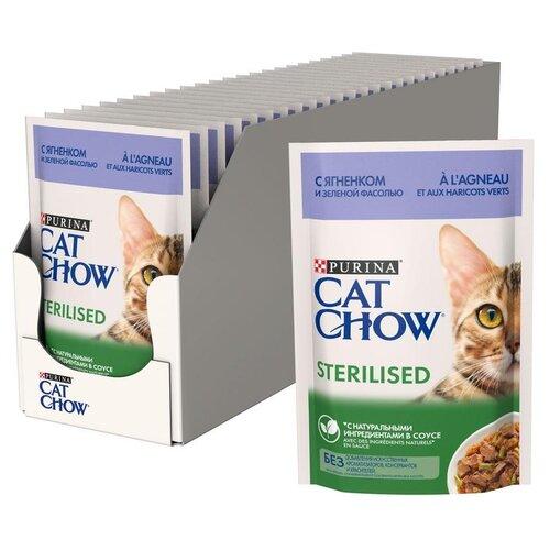 Фото - Влажный корм для стерилизованных кошек CAT CHOW с ягненком, с зелёной фасолью 26 шт. х 85 г (кусочки в соусе) влажный корм для кошек cat chow с ягненком с зелёной фасолью 34 шт х 85 г кусочки в желе