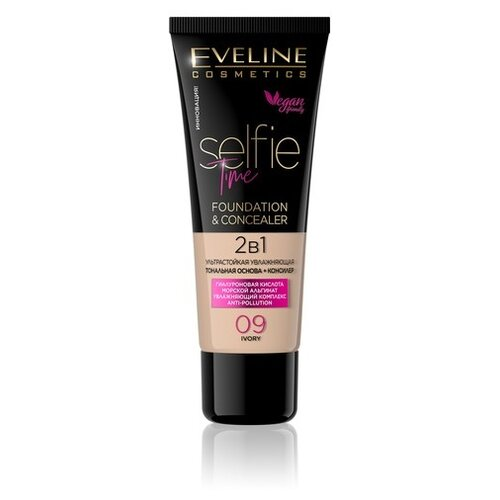 Eveline Cosmetics Тональный крем Selfie Time Foundation & Concealer, 30 мл, оттенок: 09 ivory