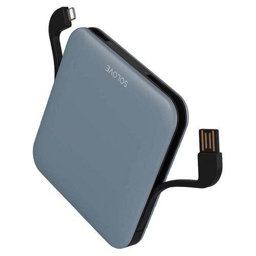 Внешний аккумулятор Power Bank Xiaomi (Mi) SOLOVE 10000mAh со встроенными кабелями USB и Lightning (A2-PRO Blue), голубой внешний аккумулятор xiaomi solove power bank 001m 10000mah pink