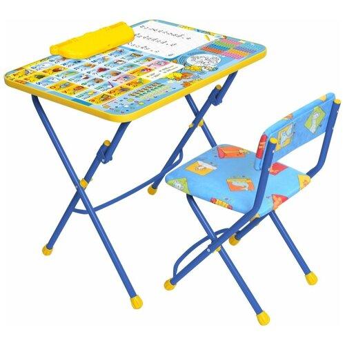 Купить Комплект Nika стол + стул Первоклашка - осень КУ2/11 60x45 см синий, Парты и столы