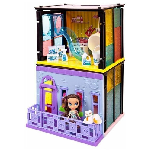 Кукольный домик для девочек с мебелью набор 2в1 HAPPY COTTAGE 180 деталей, 60х36х7 см