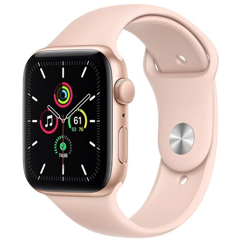 Умные часы Apple Watch SE GPS 44мм Aluminum Case with Sport Band, золотистый/розовый песок часы apple watch series 5 gps 44mm aluminum case with sport band золотистый розовый песок