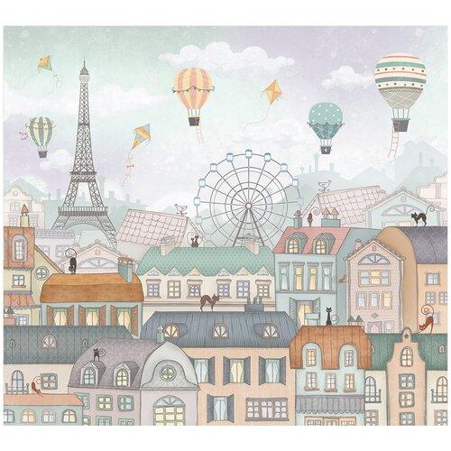 Фотообои флизелиновые Топ Фотообои Воздушные шары в небе Парижа 300х270 (ШхВ) светло-бирюзовый/сиреневый/светло-коричневый/серо-голубой/светло-серый