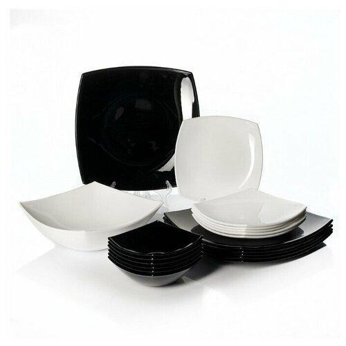 Фото - Столовый сервиз QUADRATO BLACK / WHITE 19 предметов 6 персон сервиз столовый luminarc harena 19 предметов 6 персон