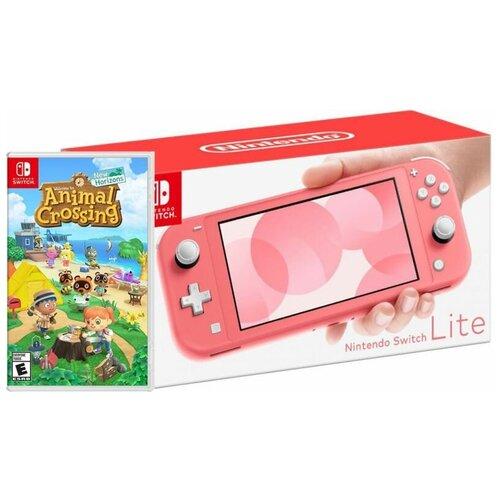 Игровая приставка Nintendo Switch Lite Кораллово-Розовая + игра Animal Crossing: New Horizons Русска