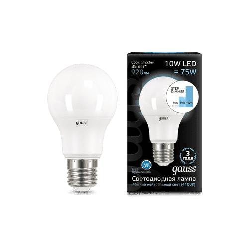 Фото - Лампа светодиодная Gauss LED A60 10W E27 4100K step dimmable 102502210-S (упаковка 10 шт) лампа светодиодная gauss 102502210 s led a60 10w e27 4100k step dimmable 1 10 50