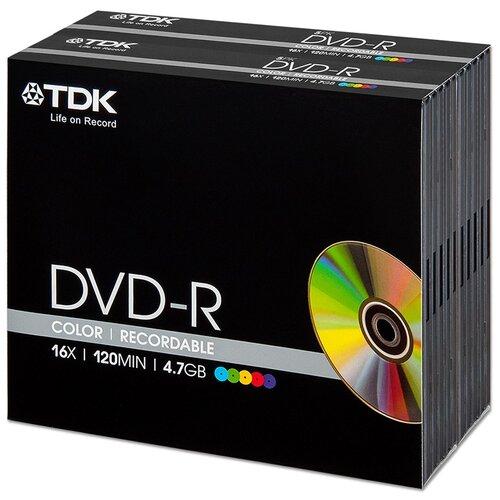 Диск TDK DVD-R 4,7Gb 16x Color slim, упаковка 10 штук