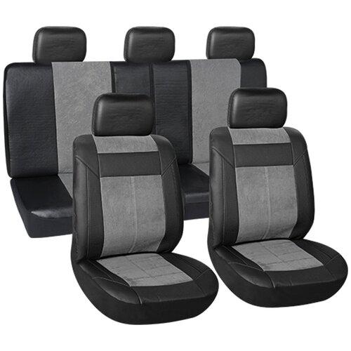 Чехлы автомобильные универс. для легковых авто Vettler ИРБИС полиэстр+вельвет,черные/серые 9пр