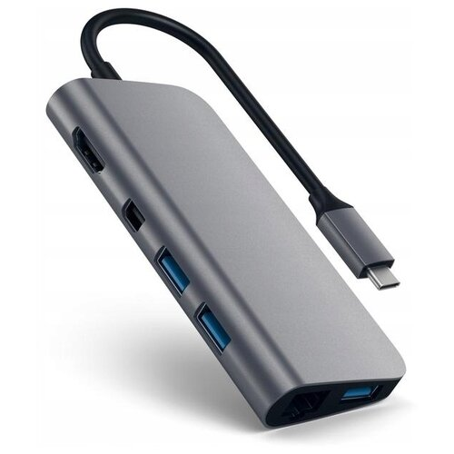 USB-концентратор Satechi Aluminum Type-C Multimedia Adapter (ST-TCMM8PA), разъемов: 4, space gray