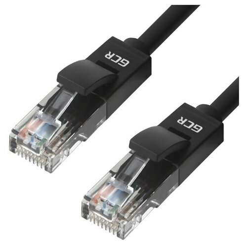 Кабель патч-корд для интернета GCR кат.6 10 Гбит/с медь черный 0.2м