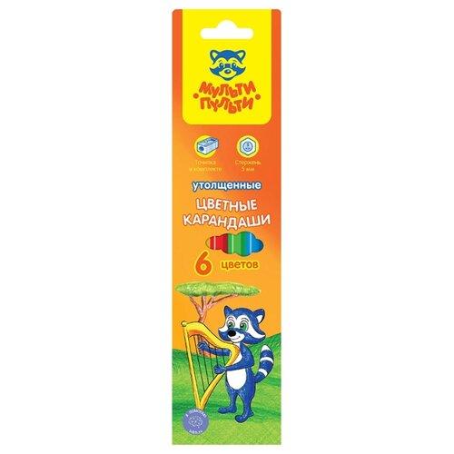 Купить Мульти-Пульти Карандаши цветные Енот в саванне 6 цветов (CP_11496), Цветные карандаши