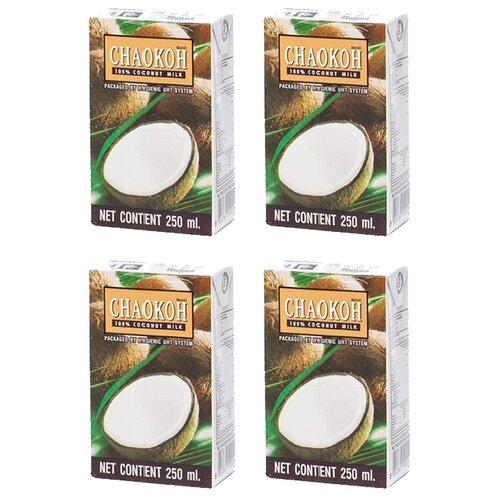 Молоко кокосовое Chaokoh 100% coconut milk 16%, 250 мл, 4 шт.