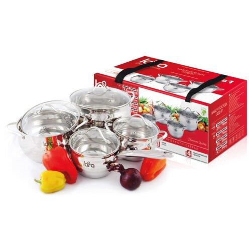 Фото - Набор посуды LARA LR02-87 8 пр серебристый набор кастрюль lara lr02 111 4 пр rio
