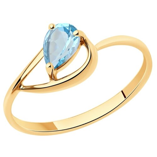 Diamant Кольцо из золота с топазом 51-310-00971-1, размер 18 diamant кольцо из золота с топазом и фианитами 51 310 00292 1 размер 18