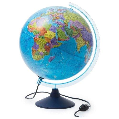 Интерактивный глобус Земли политический 32см., с LED-подсветкой + Развивающий атлас