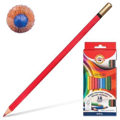 Купить Карандаши цветные KOH-I-NOOR 12 цветов, грифель 3, 2 мм, рифленый корпус, заточенные (2112012001KS), Цветные карандаши